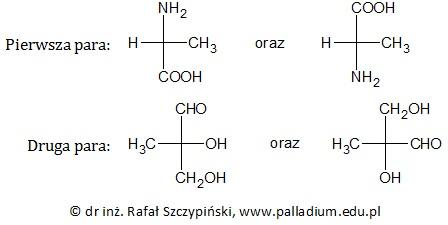 Ocena poprawności zdań dotyczących aminokwasu oraz hydroksyaldehydu (izomeria optyczna)