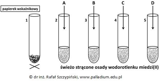 Określanie barwy papierka wskaźnikowego oraz zapis równania reakcji chemicznej
