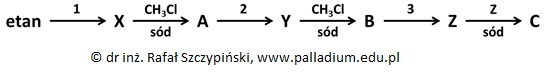 Przypisywanie nazw oraz wzorów półstrukturalnych alkanom oraz ich halogenopochodnym na podstawie cyklu syntez