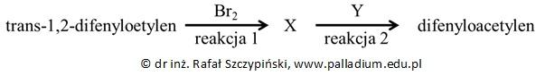 Zapis równania reakcji chemicznej otrzymywania difenyloacetylenu na podstawie schematu oraz określanie typu reakcji chemicznej
