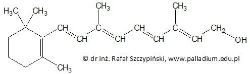 Uzupełnienie tekstu dotyczącego struktury cząsteczki witaminy A