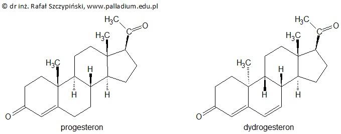 Ocena poprawności stwierdzeń dotyczących struktury cząsteczek progesteronu oraz dydrogesteronu i reaktywności (izomeria optyczna)