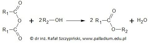 Zapis równania reakcji chemicznej tworzenia estru z udziałem bezwodnika kwasowego