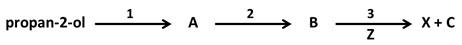 Zapis równań dwóch kolejnych reakcji chemicznych wychodząc z propan-2-olu